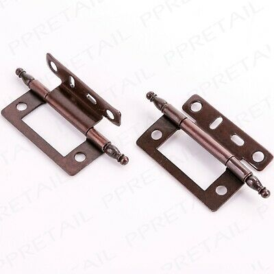 """2x ANTIQUE BRASS FINIAL CRANKED HINGE 50mm/2"""" Offset Wood Country House Cabinet"""