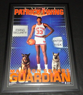 Patrick Ewing Signed Framed Madison Square Guardian 28x40 Poster STEINER Knicks