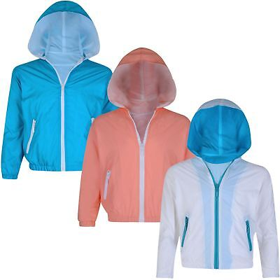 Girls Boys Long Sleeve Windbreaker Jacket Kids Zip Light Hooded Coat 3-12 Years