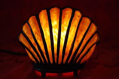 Unique Vintage Cast Iron & Thick Yellow Glass CLAM SHELL Electric Table Lamp