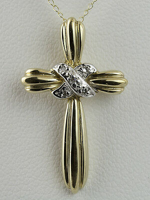 "0.03 CTW DIAMOND CROSS PENDANT in 14K YELLOW GOLD - INCLUDES 18"" 14K CHAIN"
