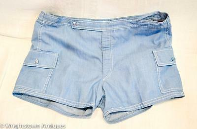 True Vintage 1960s ACAPULCO Men's SWIMSUIT SHORTS Blue Jean 2/Pockets