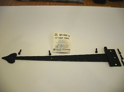"Vtg NOS 14"" GATE STRAP HINGE BLACK Painted Steel Reverse Butt Half Surface App."