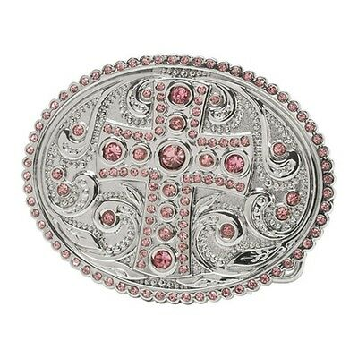 "Belt Buckle - Ornate Coloured Stone Cross Silver Oval Suits 1.5"" Snap On Belt"