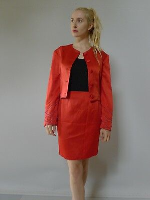 Vintage retro true 80s 10 S suit jacket skirt red silk couture very good