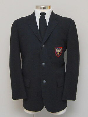 VIntage Mens 42R The Casual Shop Navy Wool Blazer with Pocket Patch