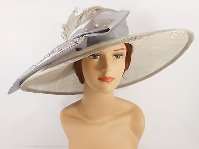 New Church Kentucky Derby Sinamay Wide Brim Dress Hat S10-2470 Gray