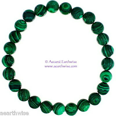 MALACHITE SYNTHETIC TUMBLED 8mm ROUND BEADS BRACELET Wicca Witch Pagan Goth