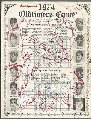 1974 Old Timer's Program Signed By 23 Joe DiMaggio Musial Mrs.Babe Ruth MORE WOW