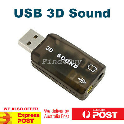 USB 2.0 to 3D AUDIO SOUND CARD EXTERNAL ADAPTER VIRTUAL 5.1 CH Headphone MIC