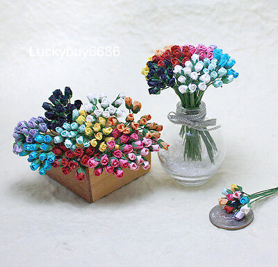 50Mix Mini Tiny Rose Scrapbook Craft 5mm Mulberry Paper Flower Wedding Card Doll