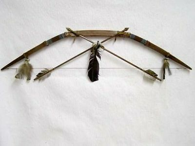 Native American Navajo Made Rawhide Bow and Arrow Set By: Eddie and Cheryl Hill