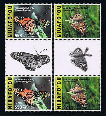 Niuafo'ou - 2015 Butterflies EMS Rates Part 2 Postage Gutter Pairs Stamp Set