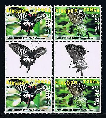 Tonga - 2015 Butterflies EMS Rates Part 2 Postage Gutter Pairs Set