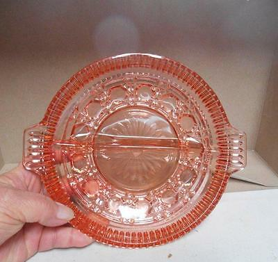 Peach colored cut glass divided serving candy dish