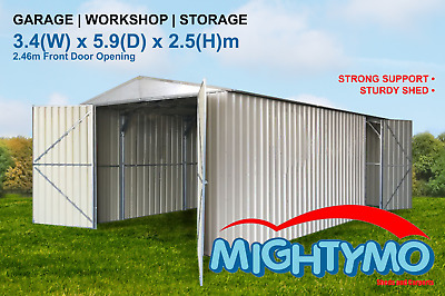 Garden Shed, 3.4(W) x 5.8(D) x 2.5(H)m, Large Steel, Workshop, Storage, Garage