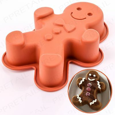 "LARGE 6"" GINGERBREAD MAN MOULD Deep/Cake/Biscuit/Jelly/Baking/Shape/Silicone NEW"