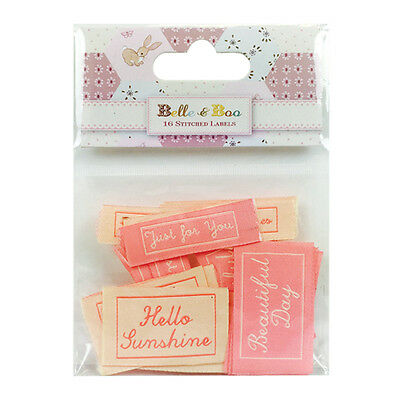 16 Belle & Boo Ii Stitched Label Sentiment Card Making Craft Embellishments