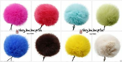 8cm Fur Keyring Real Fluffy Handbag Charms Puff Ball Keychain Phone PomPom