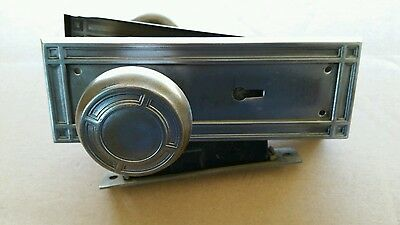 Vintage Steel Door Knob Set Lock Box  Backplates Spindle ( #1A)
