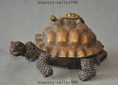 "7"" China classica Bronze longevity turtle tortoise statue incense burner Censer"