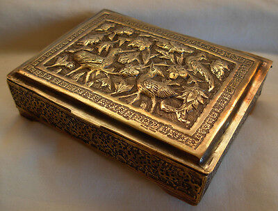 Vintage Persian Brass Hand Chased Cigarette Box
