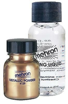 Mehron Gold Metallic Powder & Mixing Liquid Face Body Paint Makeup Costume Dd129