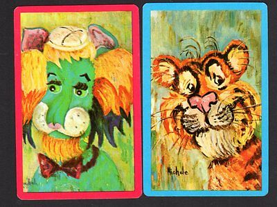 Vintage Swap/Playing Cards - Retro Lion & Tiger signed Pair