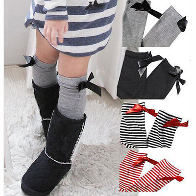 Kids Gifts Children Girls Long Over Knee Lovely Cotton Bowtie Soft Socks