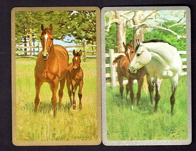 Vintage Swap/Playing Cards - Horses Pair (Gold & Silver Borders)
