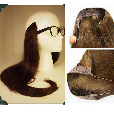 Halo Remy Headband in Invisible Wire 100% Human Hair Extensions Full head 24INCH