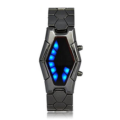 Futuristic Japanese Style Blue LED Watch with dark metal strap HY