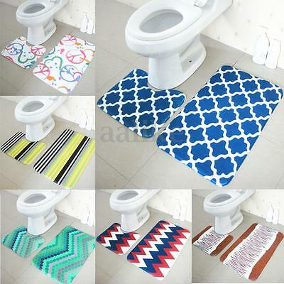 2pcs/Set Floor Rug Carpet Bath Pedestal Mat Bathroom Shower Toilet Non Slip Pad