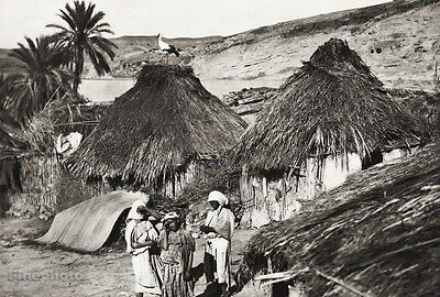 1934 Vintage 11x14 Morocco Moulay Yacoub Berber Hut Native Landscape Photo Art