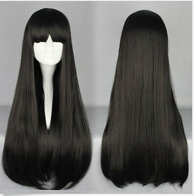 Women's Fashion Long Straight Flate Bangs Full Hair Wigs Cosplay Party Black Wig