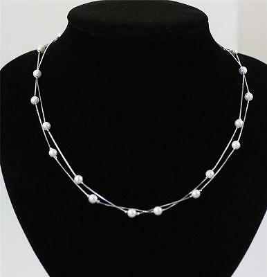 Pretty Solid 925 Sterling Silver, 2 Row Seashell Pearl Necklace jewellery +box