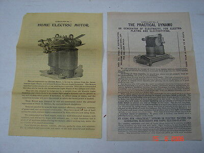W P HARRISON & CO Columbus, OH 1890's Electric Motor & Plating Dynamos Brochures