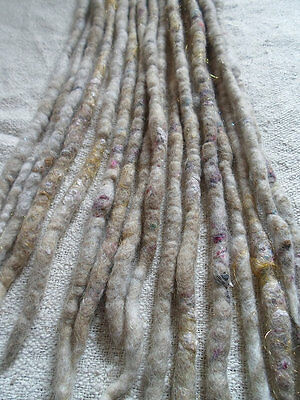 ONE Double Ended Dreadlock White Blonde Dread DE Natural Felted Wool Dreads Boho