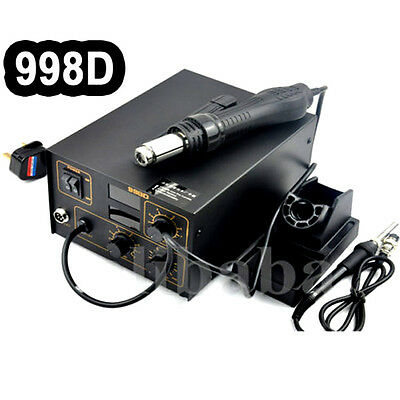 220V Smd Hot Air Rework Soldering Station Welder + Hot Air Gun + Nozzles Uk