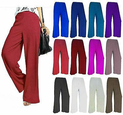 Womens Plus Size Plain Palazzo Wide Leg Flared Ladies Trousers Pants Cropped Top