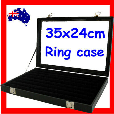 Ring Case JEWELLERY Box Reliable | GLASS Lid | Premium Quality | AUSSIE Seller