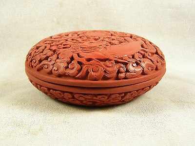 Vintage Chinese Carved Cinnabar Foo Dog Round Covered Box - Mat Finish