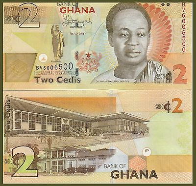 Ghana P-NEW, 2 Cedi, Nkrumah, gold bars / Parliment see UV & W/M images, UNC