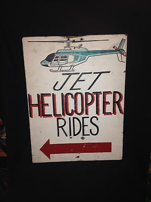 "1960's 24"" Wooden Helicopter Rides Sign"