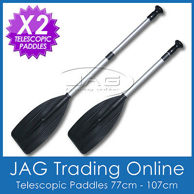 2 x PALM GRIP TELESCOPIC ALUMINIUM OARS PADDLES- Boat/Canoe/Kayak/Inflatable/PWC