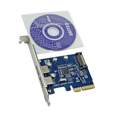 PCI-E 4x Express To USB 3.1 Type A Dual USB 2 Port Add On Expansion Card Adapter