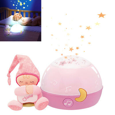 New Chicco Pink Goodnight Stars Soft Nursery Projector Baby Musical Nightlight