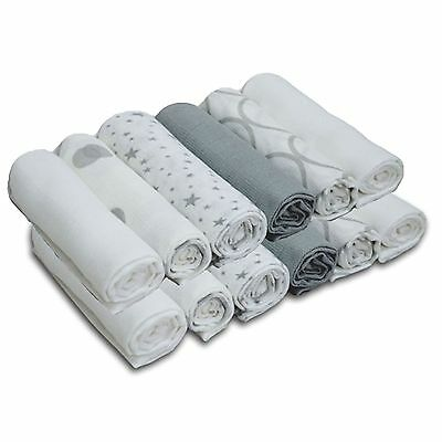 New 4Baby Silver/white Cotton Muslin Squares Baby Feeding Accessories (12 Pack)