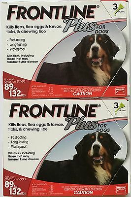 FRONTLINE Plus Dogs Flea Tick Medicine Large RED Box 6 Month Supply 89-132 Pound