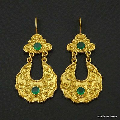 Rare Natural Green Onyx Byzantine 925 Sterling Silver 22K Gold Plated Earrings